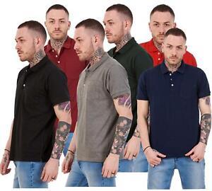 Mens Cotton T-Shirts Regular fit Plain Polo Pocket Casual Formal Shirt Top M-XXL