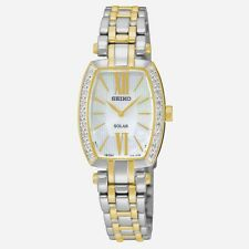 Seiko Solar Ladies 18 Diamonds MOP Dial Two Tone Stainless Steel Watch SUP284
