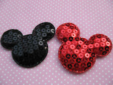 20 Big Padded Mouse Head w/Sequin Appliques-2 colors AD030
