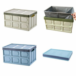 3 x 56L Collapsible Storage Bins w/ Lids Folding Plastic Stackable Utility Crate