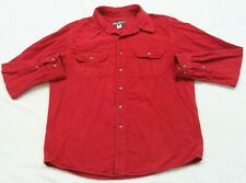 Eddie Bauer Dress Shirt Large Red Button Up Solid Men's Cotton 2 Pocket Chamois