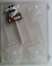 I LOVE COWS IN SUNGLASSES LOLLIPOP CLEAR PLASTIC CHOCOLATE CANDY MOLD AO046