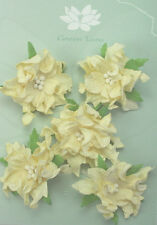 GARDENIA Flowers & Leaves IVORY Mulberry Paper 5 Pk 50-55mm across Green Tara A