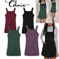 New Womens Ladies Pinafore Dungaree Mini Skater Corduroy A Line Dress UK 8-20
