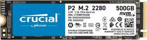 HARD DISK SSD STATO SOLIDO 500GB CRUCIAL P2 3D NAND NVMe PCIe M.2 CT500P2SSD8