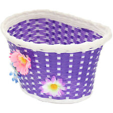 PURPLE FLOWER GIRLS BICYCLE FRONT BASKET CHILDS/CHILDRENS/KIDS FOR BIKE/CYCLE