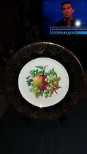 Display / Cabinet Plate Fruits Design with Black Gilded Outer Rim  27.5cm Diam