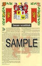 BEAN Armorial Name History - Coat of Arms - Family Crest GIFT! 11x17