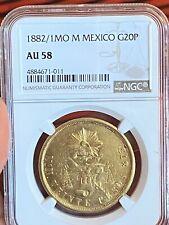1882 Mexico 1MO M Mexico G 20 Pesos Gold coin NGC AU 58