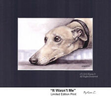 Greyhound Whippet Fawn Art Print It Wasn't Me Signed Artist New Kevin Z Arttogo