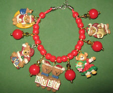 """TEDDY BEAR CHRISTMAS""-HAND CRAFTED  CHARM BRACELET"