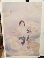 TRUONG VAN Y ASIAN WOMAN ON A POND COLOR PRINT