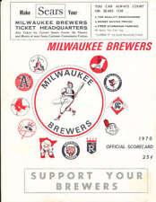 1970 Milwaukee Brewers vs Oakland A's program scorecard