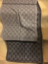 100% Gucci Authentic jacquard pattern knitted scarf Black/ Gray NEW