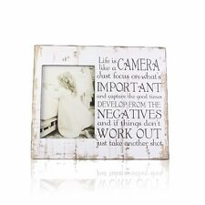 """Camera Photo Frame with Photo Size 6""""x8"""" Wooden White Letters Words Pattern Life"""