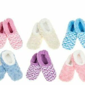 Ladies Stripe & Rose Snoozies! Comfy Sherpa Fleece Lined Slippers Slipper Socks