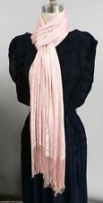 Vintage Scarf Shawl Pink Lacy Rayon Fringed Over 82 Long