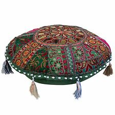 Boho Vintage Round Floor Pillow Cover Patchwork Adults Embroidered Cotton 18x18