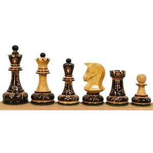 """1970s' Dubrovnik Chess Pieces Only Set - Hand Carved Lacquered Boxwood-3.8"""" King"""