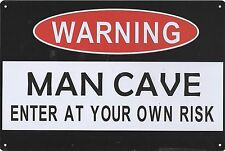 Warning MAN CAVE enter at your own risk tin wall sign bar 30x20cm BNIP AU seller