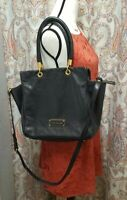 MARC JACOBS TOO HOT TO HANDLE BENTLEY BLACK GOLD 100% Pebbled LEATHER TOTE BAG