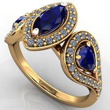 Anello Oro 18Kt gr. 5,40 Zaffiri Marquise e Goccia e Diamanti Brillanti ct. 1,34