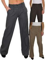 Women Wide Leg Smart Trousers Feint Pinstripe NEW 10-22