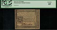 Colonial Currency - Pennsylvania October 25, 1775 2s 6d PCGS Gem New 65