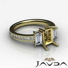Brilliant Diamond 3 Stone Engagement Ring 14k Yellow Gold Emerald Mount 0.85Ct