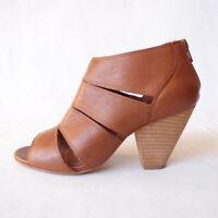 WITTNER Impress Tan Brown Leather Peep Toe Block Heels Strappy Size EUR37 6.5