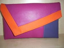 Rosa Fucsia sobre tamaño, naranja y púrpura Imitación Cuero Bolso sin asas Bolso, forrado BN