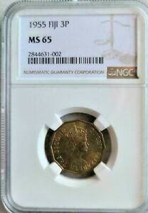 1955 FIJI 3 PENCE NGC MS65 AMAZING LUSTER BEAUTY COIN FINEST KNOWN