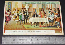 CHROMO 1900-1910 CHOCOLAT POULAIN MOLIERE A LA TABLE DE LOUIS XIV