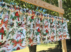 Christmas Birds Cardinals Red Bows Holly Berries Pine Branches Curtain Valance