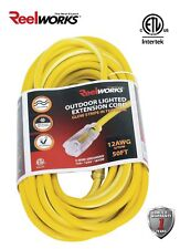 REELWORKS Heavy Duty Extension Cord , 12AWG/3C Single Outlet, 50'