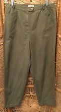 Talbots Womens Dress Pants Size 16 Green Straight Leg Zipper Front 100% Cotton