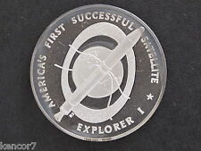 1970s Explorer I Silver Art Medal Franklin Mint America in Space D8680