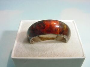 ** Genuine Amber Sterling Silver Band,  Sz: 7 3/4 **