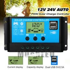 MPPT 30A-60A 12V/24V Auto Focus Tracking Solar Panel Regulator Dual USB Charge