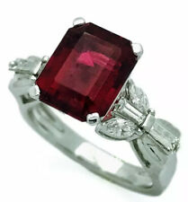 Diamond 18K White Gold Ring 3.91 Cts. Rubellite Tourmaline (Certified) and
