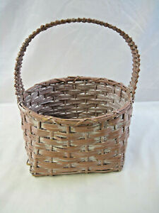 """15"""" Tall Pink and White Unbranded Woven Wooden Picnic Storage Decor Basket"""