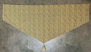 "Set of 2 Waverly Ascot Valances Green Tan Basket Weave Pattern Tassels 51"" x 23"""
