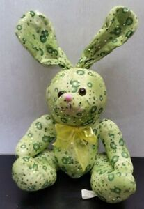 KellyToy Rabbit Bunny Green Sequins Plush Animal EUC Free Shipping!