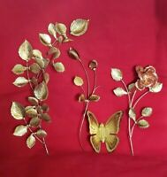"Homco Home Interiors Gold Leaves Wall Decor Vintage Metal 17"" Bronze Rose 4pcs"