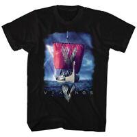Vikings Ship And Logo Men's Black T-Shirt Large