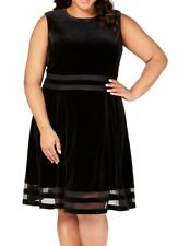 Calvin Klein Women's Dress Black Size 14W Plus A-Line Velvet Flare $139 #307
