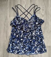 White House Black Market Floral Strappy Tiered Tank Top Blouse Size Small Blue