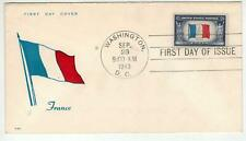 Patriotic Fdc Ww2 Overrun Countries Occupied Nations 915-2 France Flag