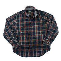 Eddie Bauer Men Medium Classic Flannel Button Down Shirt Top Plaid Black Red