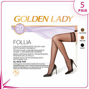 5 PAIA CALZE AUTOREGGENTI GOLDEN LADY FOLLIA 20 DENARI BORDO RICAMATO